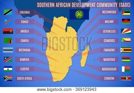 Vector Map And Flags Of The Southern African Development Community (sadc).
