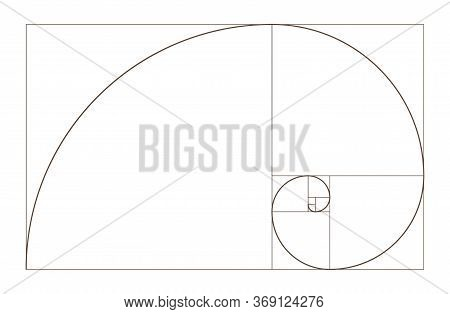 Golden Ratio Spiral. Mathematical Formula To Guide Designers For Harmony Composition. Educational Ma