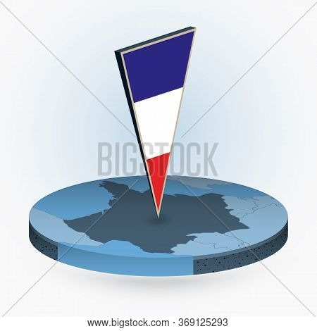 France Map In Round Isometric Style With Triangular 3d Flag Of France, Vector Map In Blue Color.