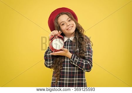Define Your Own Rhythm Of Life. Happy Hours Concept. Schedule And Timing. Girl With Alarm Clock. Set