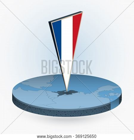 Netherlands Map In Round Isometric Style With Triangular 3d Flag Of Netherlands, Vector Map In Blue