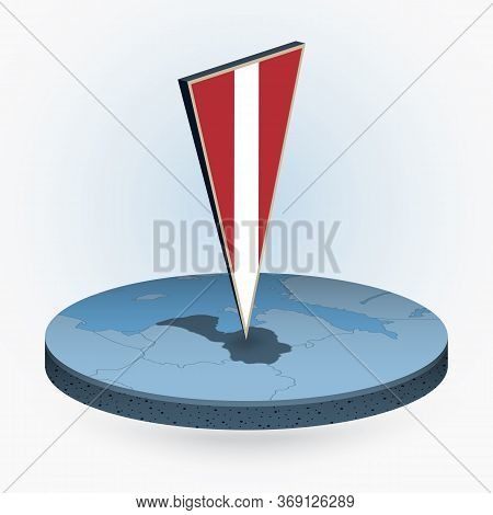 Latvia Map In Round Isometric Style With Triangular 3d Flag Of Latvia, Vector Map In Blue Color.