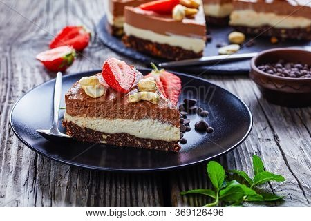 Low Calorie Dessert Chocolate Tart Of Two Chocolate Layers Made Of Coconut Cream Soaked Cashews With