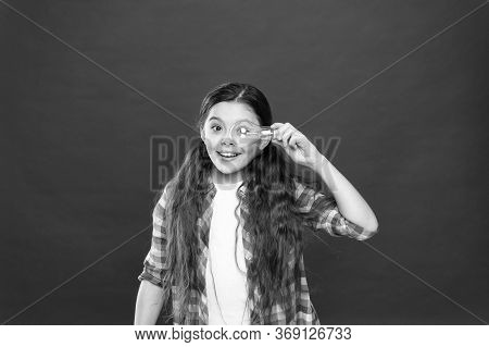 Cute Child Search For Inspiration. Power Saving. Idea And Inspiration. Inspired Child Red Background