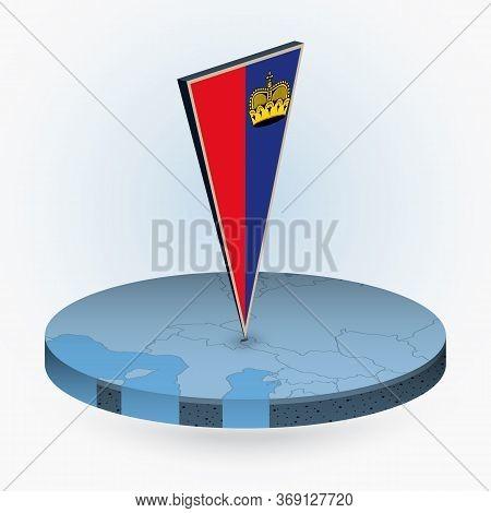 Liechtenstein Map In Round Isometric Style With Triangular 3d Flag Of Liechtenstein, Vector Map In B