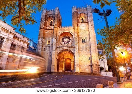 Lisbon Street At Night.tour Tourism And Landmark In Lisbon,portugal.architecture And Famous Places.s