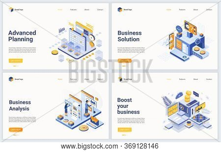 Isometric Business Data Analysis Process Vector Illustration. Modern Concept Interface Design Set Fo