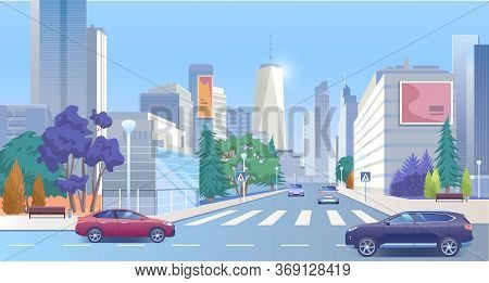 City Street Downtown Vector Illustration. Cartoon 3d Urban Panoramic Cityscape, Business Office Cent