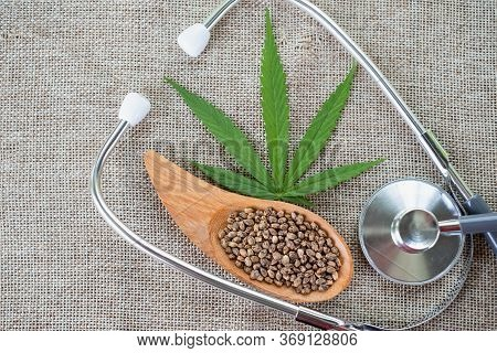 Hemp Oil, Seeds In Wooden Spoons And Stethoscope. Doctors Or Researchers Concept Cbd Hemp Oil, An Al