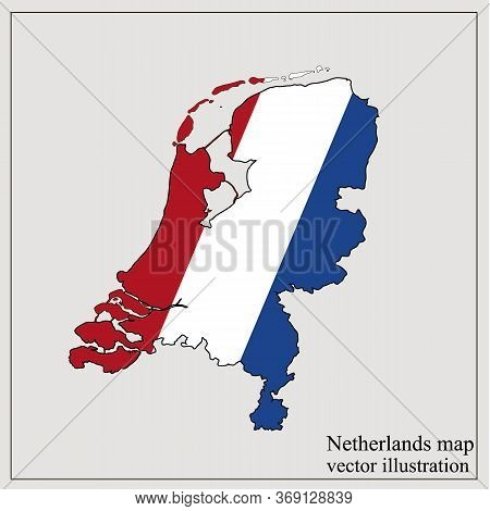 Map Of Netherlands With Flag. Netherlands Infographic. Vector Illustration.