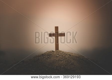 A Cross Placed On A Hill To Pray To God. As The Sun Is Setting Higher Religious Concepts, The Crucif