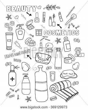 Beautiful Cosmetics Travel Doodle Set, Great Design For Any Purposes. Beautiful Abstract Template Wi