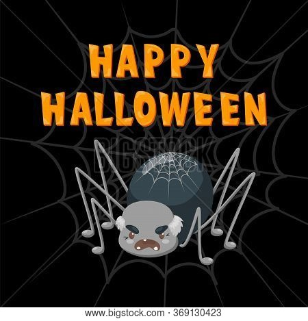 Halloween Poster With Spider On Web On Black Background, Vector Creepy Text With Flat Spooky Insect