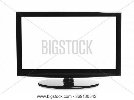 Modern Plasma Tv On White Background. Space For Design