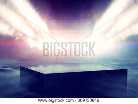Musical Background.set Of Lights. Concept Of Live Music And Concerts.3d Illustration.stage Lights An