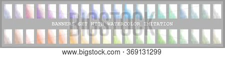 Colorful Watercolor Spots Vector Imitation Of Watercolor, A Set Of Light Multi-colored Backgrounds F