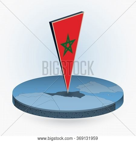 Morocco Map In Round Isometric Style With Triangular 3d Flag Of Morocco, Vector Map In Blue Color.