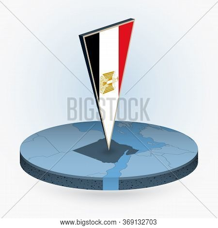 Egypt Map In Round Isometric Style With Triangular 3d Flag Of Egypt, Vector Map In Blue Color.