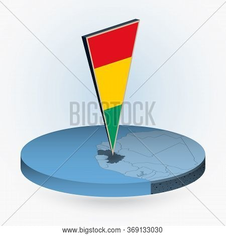 Guinea Map In Round Isometric Style With Triangular 3d Flag Of Guinea, Vector Map In Blue Color.