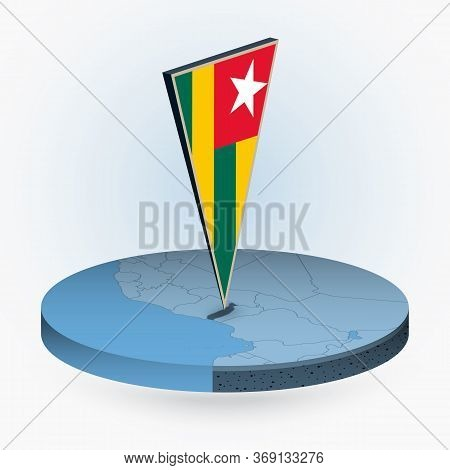 Togo Map In Round Isometric Style With Triangular 3d Flag Of Togo, Vector Map In Blue Color.