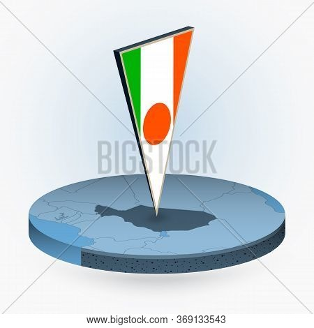 Niger Map In Round Isometric Style With Triangular 3d Flag Of Niger, Vector Map In Blue Color.