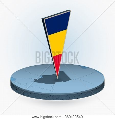 Chad Map In Round Isometric Style With Triangular 3d Flag Of Chad, Vector Map In Blue Color.