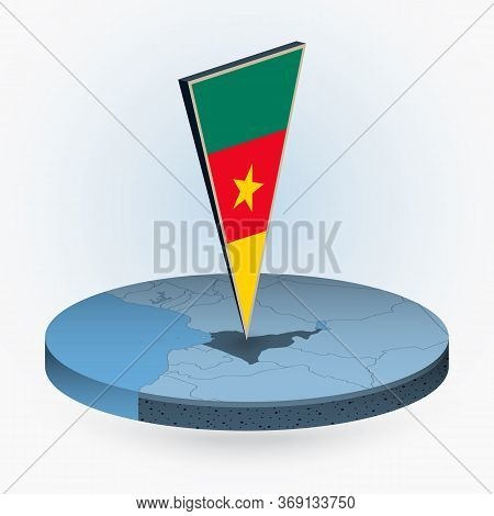 Cameroon Map In Round Isometric Style With Triangular 3d Flag Of Cameroon, Vector Map In Blue Color.