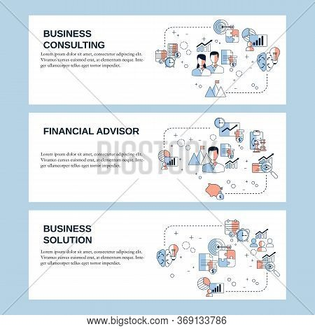 Business Consulting, Business Solution And Financial Adviser Concepts For Website, Landing Page, Ui,
