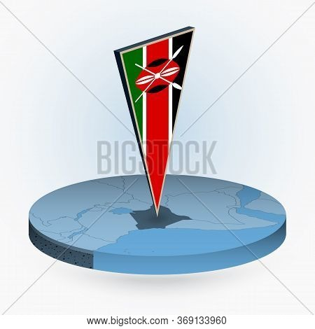 Kenya Map In Round Isometric Style With Triangular 3d Flag Of Kenya, Vector Map In Blue Color.