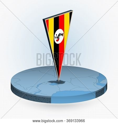 Uganda Map In Round Isometric Style With Triangular 3d Flag Of Uganda, Vector Map In Blue Color.