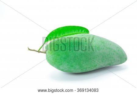 Close Up Green Mango Isolated On White Background.