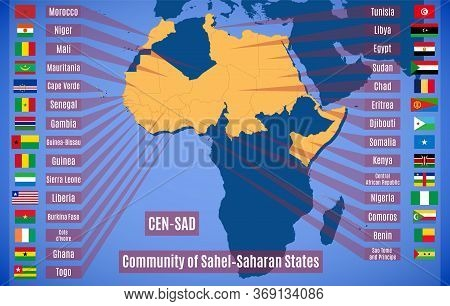 Map And Flags Member States Of The Community Of Sahel-saharan States (cen-sad).