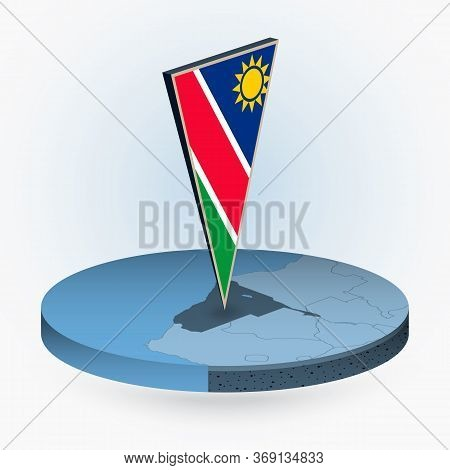 Namibia Map In Round Isometric Style With Triangular 3d Flag Of Namibia, Vector Map In Blue Color.