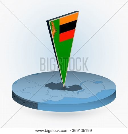 Zambia Map In Round Isometric Style With Triangular 3d Flag Of Zambia, Vector Map In Blue Color.