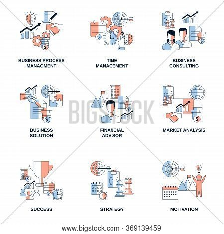 Set Of Business Vector Icons. Business Process Management, Time Management, Solution, Financial Advi
