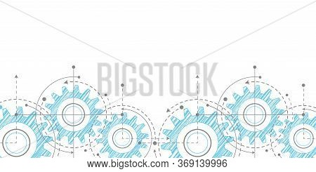 Engineering Technical Drawing On A White Background.technical Drawing Of Gears . Rotating Mechanism