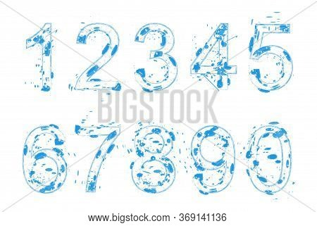 Vector Number Set In Grungy Style, Abstract Numbers From 0 To 9. Vector Number Template.