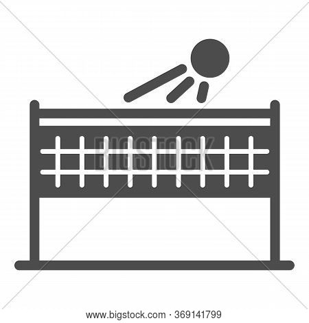 Beach Volleyball Solid Icon, Summer Sport Concept, Volleyball Net With Ball Sign On White Background