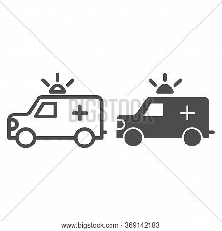 Ambulance Car Line And Solid Icon, Healthcare Concept, Emergency Vehicle Sign On White Background, A