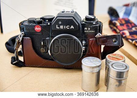Belgrade / Serbia - November 6, 2018: Old Leica R3 35mm Slr Camera With Packs Of Film, Which Belonge