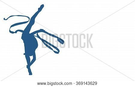 Blue Silhouette Of A Girl Who Stands On One Leg In Twine With An Object. Ribbon