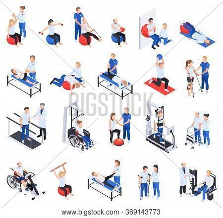 Physiotherapy Rehabilitation Clinic Isometric Icons Set With Injured And Disabled People Massage Tre
