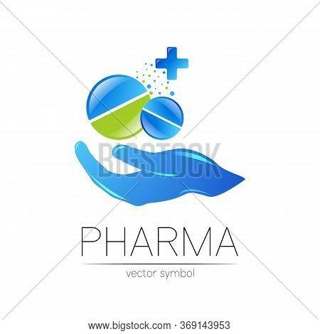 2 Pharmacy Vector Symbol With Cross For Pharmacist, Pharma Store, Doctor And Medicine. Modern Design