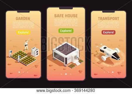 Isometric Set Of Space Colonization Templates With Astronaut Safe House Garden And Drone For Explora
