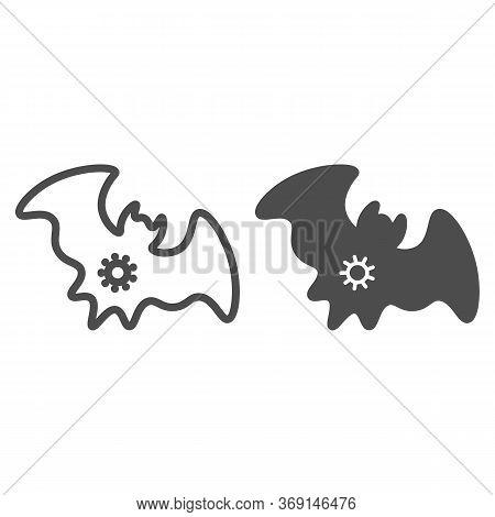 Bat And Virus Transmission Line And Solid Icon, Coronavirus Epidemic Concept, Virus On Bat Sign On W