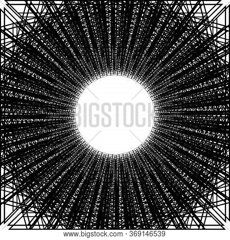 Abstract Perspective Black Grid Isolated On White Background. Template Fishing Nets Or Nets For Spor