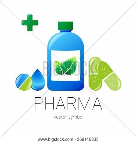 Pharmacy Vector Symbol With Blue Bottle And Cross, Green Leaf And Drop, Pill Capsule Tablet For Phar