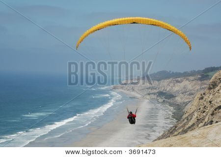 Hang Gliding Over Beach