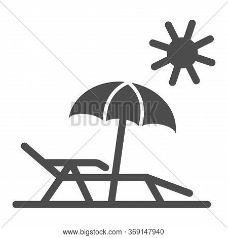 Chaise Lounge On Beach Solid Icon, Summer Concept, Deck Chair With Umbrella Sign On White Background