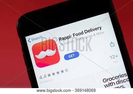 Moscow, Russia - 1 June 2020: Rappi Food Delivery App Mobile Logo Close-up On Screen Display, Illust